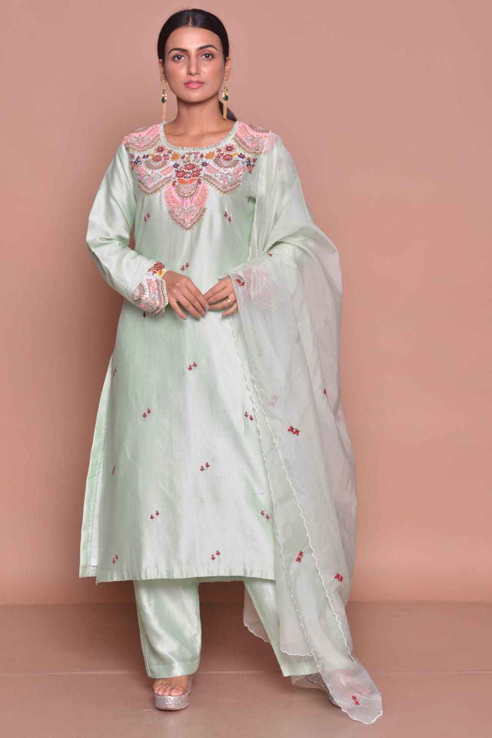 Shop elegant mint green embroidered suit online in USA with palazzo and dupatta. Flaunt Indian fashion with exquisite designer suits, Anarkali suits, sharara suits from Pure Elegance Indian cloth store in USA. -full view