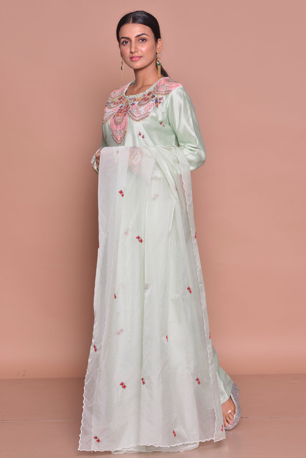 Shop elegant mint green embroidered suit online in USA with palazzo and dupatta. Flaunt Indian fashion with exquisite designer suits, Anarkali suits, sharara suits from Pure Elegance Indian cloth store in USA. -side