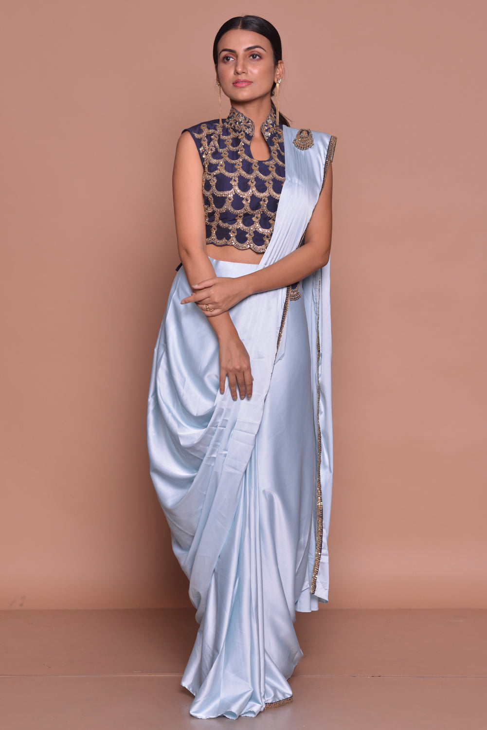 Buy light blue designer draped saree  online in USA with embroidered saree blouse. Flaunt Indian fashion with exquisite designer sarees, partywear sarees, bridal sarees from Pure Elegance Indian cloth store in USA. -full view
