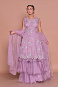Buy gorgeous mauve embroidered kurta with sharara online in USA and dupatta. Flaunt Indian fashion with exquisite designer suits, Anarkali suits, sharara suits from Pure Elegance Indian cloth store in USA. -full view