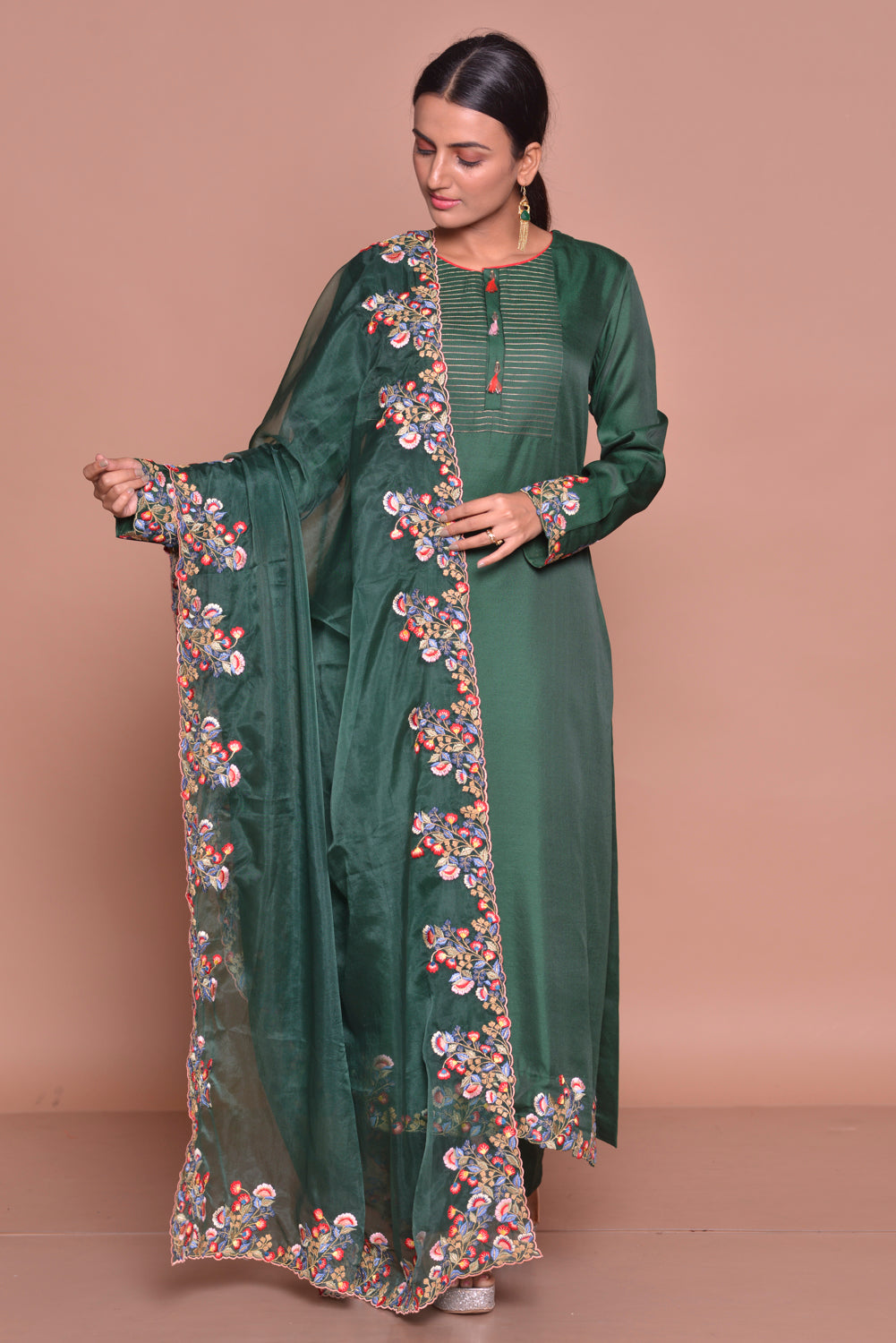 Shop beautiful dark green embroidered suit online in USA with palazzo and embroidered dupatta. Flaunt Indian fashion with exquisite designer suits, Anarkali dresses, traditional salwar suits from Pure Elegance Indian cloth store in USA. -full view