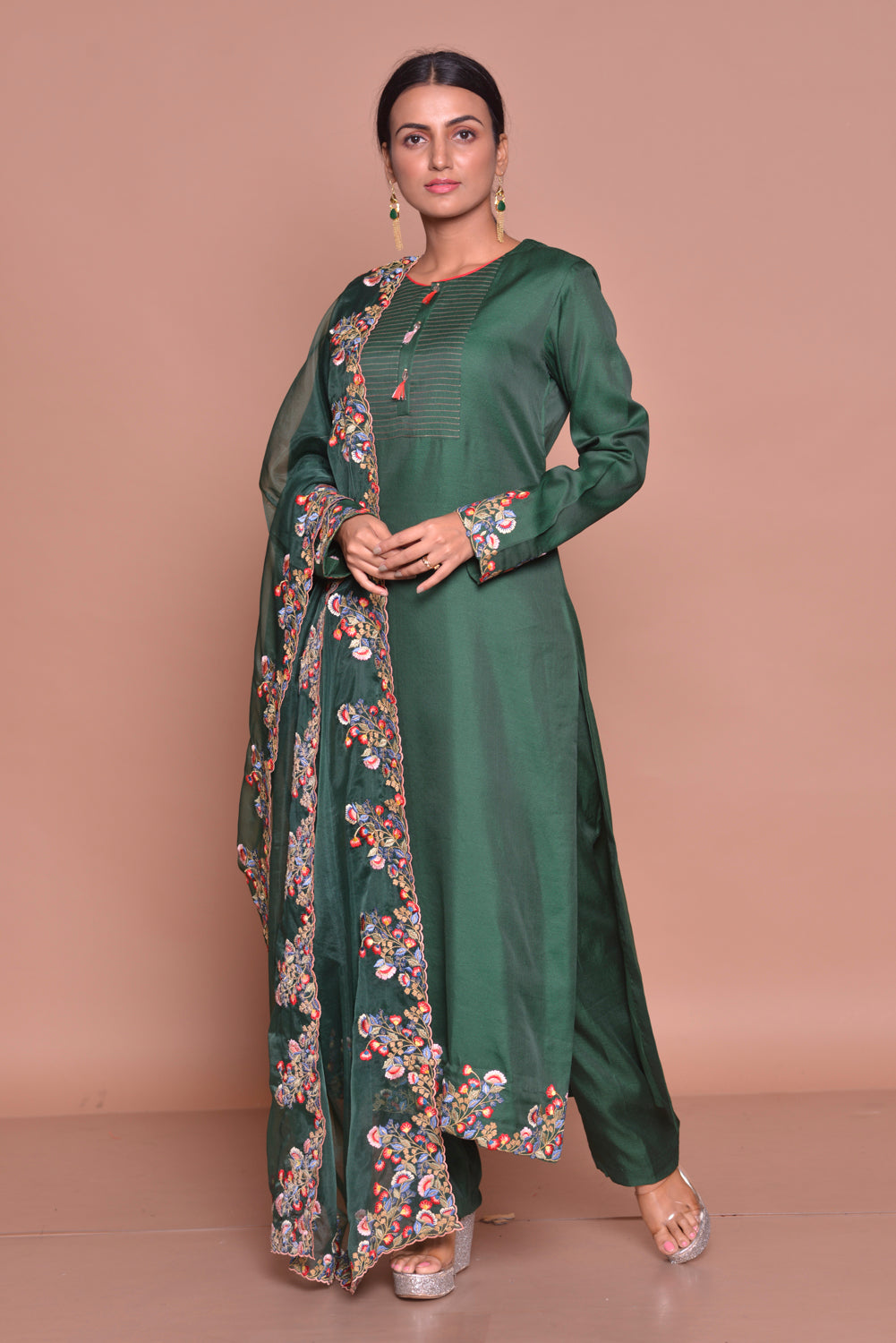 Shop beautiful dark green embroidered suit online in USA with palazzo and embroidered dupatta. Flaunt Indian fashion with exquisite designer suits, Anarkali dresses, traditional salwar suits from Pure Elegance Indian cloth store in USA. -side