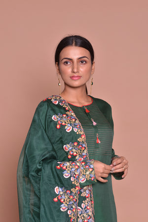 Shop beautiful dark green embroidered suit online in USA with palazzo and embroidered dupatta. Flaunt Indian fashion with exquisite designer suits, Anarkali dresses, traditional salwar suits from Pure Elegance Indian cloth store in USA. -closeup