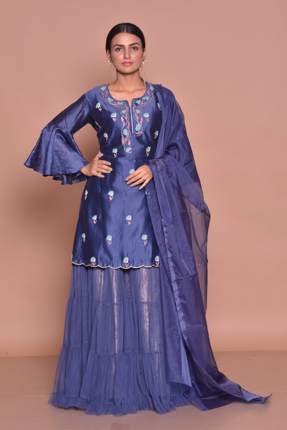 Shop beautiful royal blue embroidered kurta online in USA with skirt and dupatta. Flaunt Indian fashion with exquisite designer suits, Anarkali suits, sharara suits from Pure Elegance Indian cloth store in USA. -full view