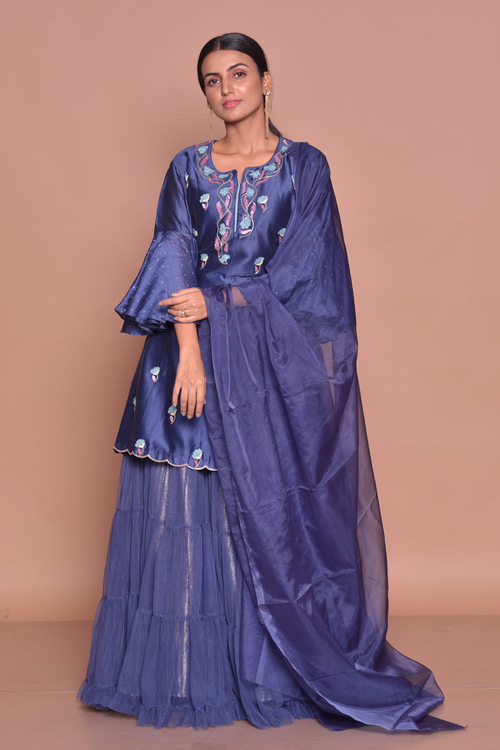 Shop beautiful royal blue embroidered kurta online in USA with skirt and dupatta. Flaunt Indian fashion with exquisite designer suits, Anarkali suits, sharara suits from Pure Elegance Indian cloth store in USA. -front