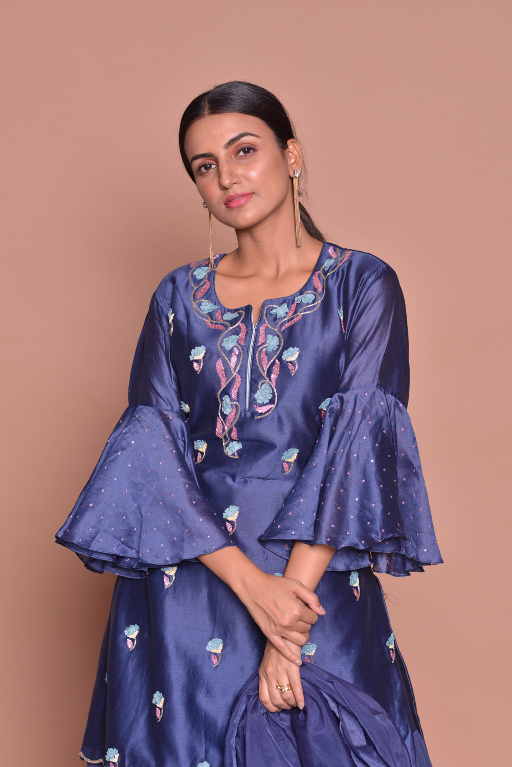 Shop beautiful royal blue embroidered kurta online in USA with skirt and dupatta. Flaunt Indian fashion with exquisite designer suits, Anarkali suits, sharara suits from Pure Elegance Indian cloth store in USA. -closeup