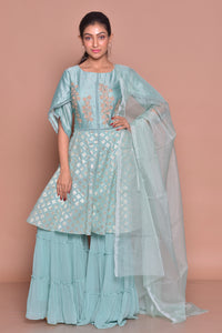 Shop ice blue embroidered sharara suit online in USA with palazzo and dupatta. Flaunt Indian fashion with exquisite designer suits, Anarkali dresses, traditional salwar suits from Pure Elegance Indian cloth store in USA. -full view