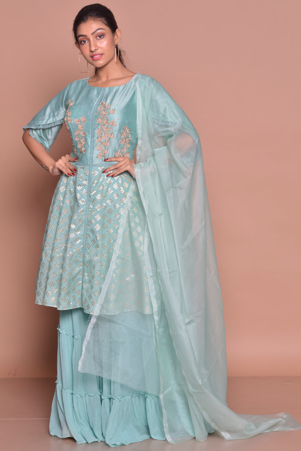 Shop ice blue embroidered sharara suit online in USA with palazzo and dupatta. Flaunt Indian fashion with exquisite designer suits, Anarkali dresses, traditional salwar suits from Pure Elegance Indian cloth store in USA. -side