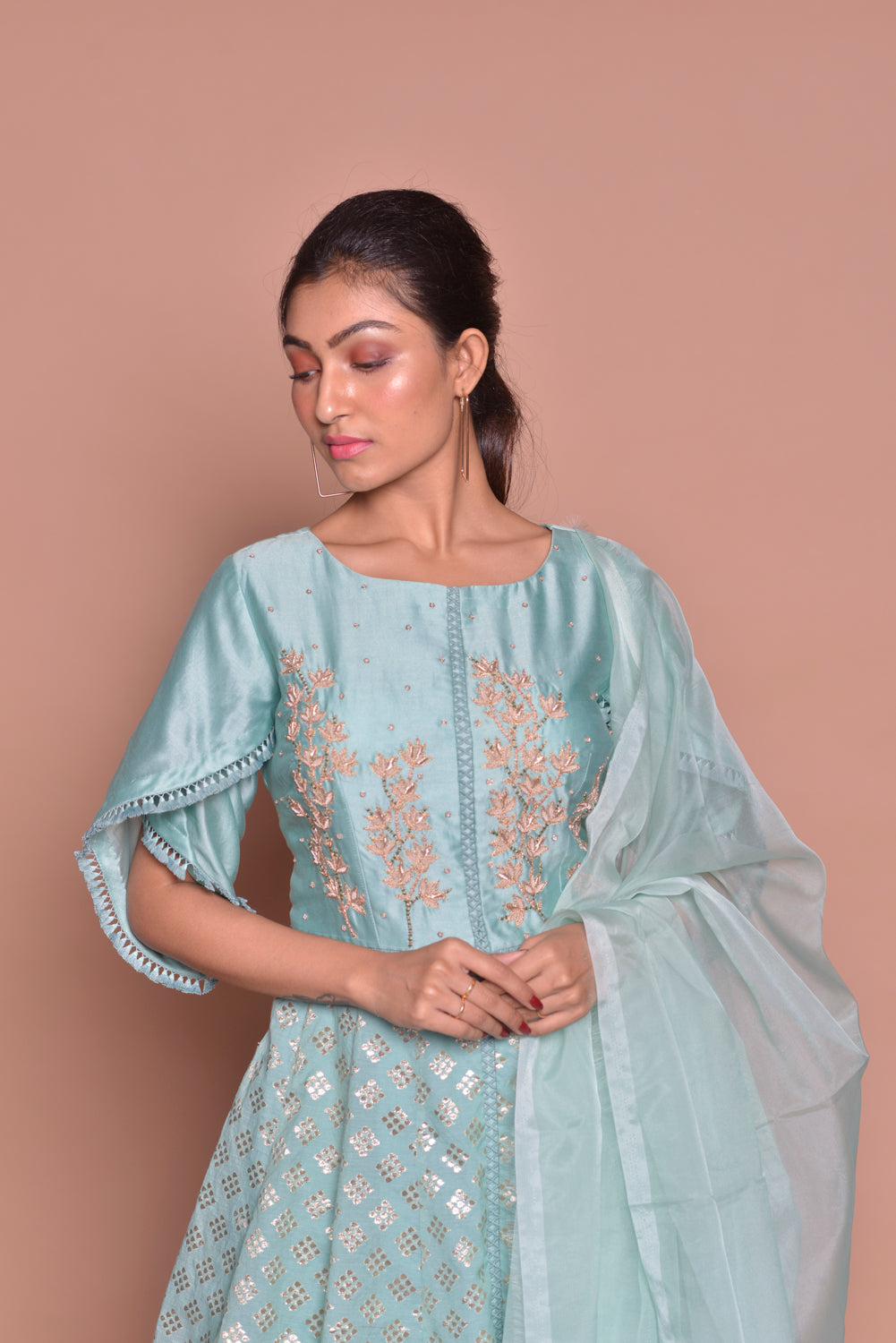 Shop ice blue embroidered sharara suit online in USA with palazzo and dupatta. Flaunt Indian fashion with exquisite designer suits, Anarkali dresses, traditional salwar suits from Pure Elegance Indian cloth store in USA. -closeup