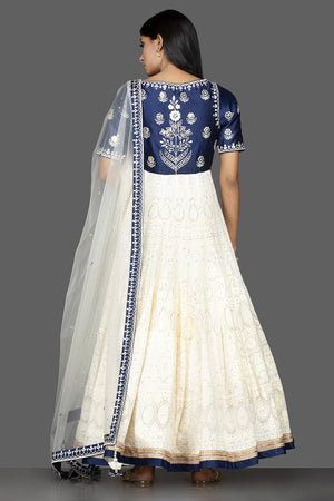 Buy beautiful off-white and blue Lucknowi work georgette Anarkali suit online in USA with dupatta. Spread ethnic elegance on weddings and special occasions in splendid designer lehengas, Anarkali suits crafted with exquisite Indian craftsmanship from Pure Elegance Indian fashion store in USA.-back