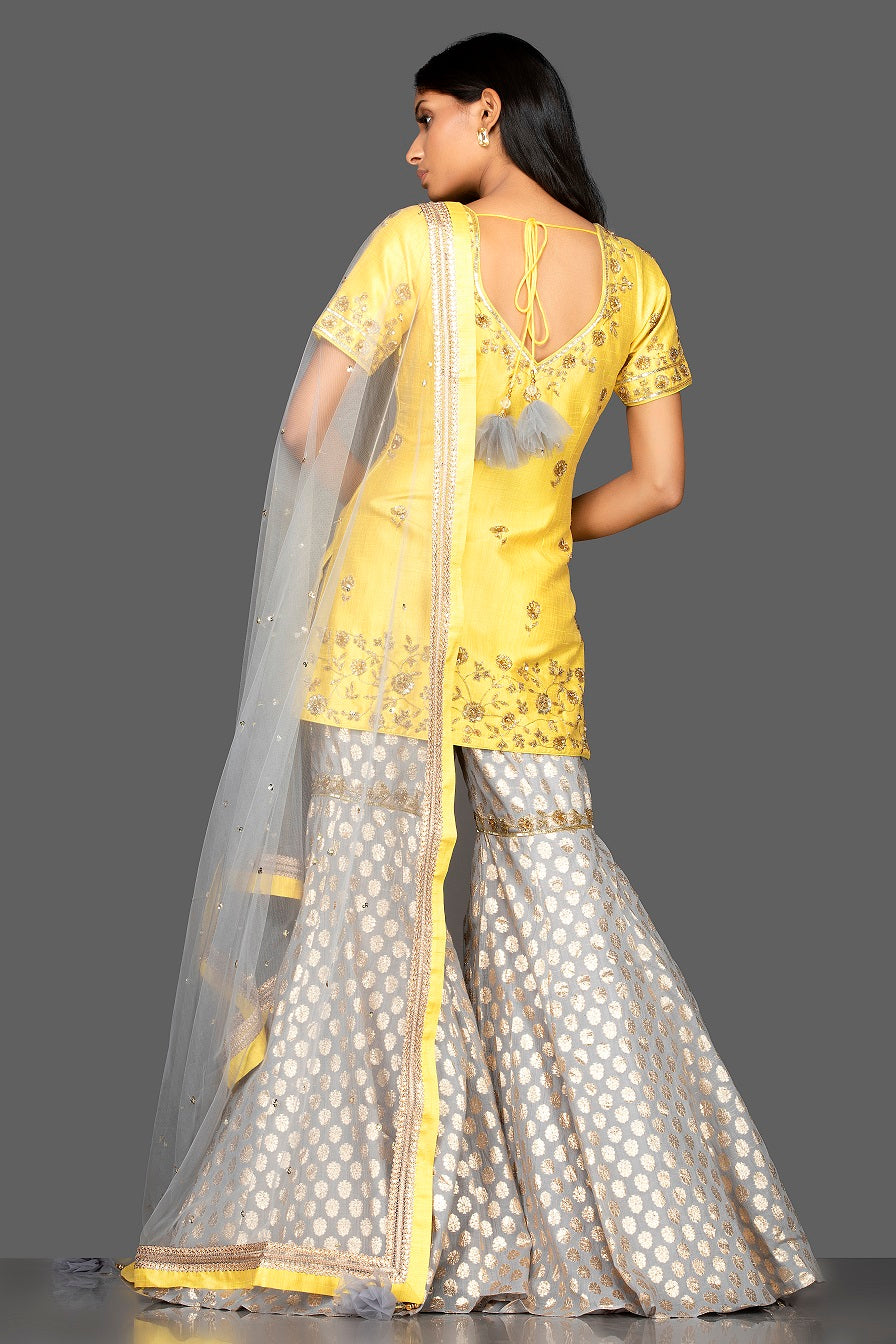502499 Yellow and Grey Embroidered Cotton Silk Garara Suit