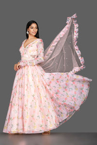 Shop elegant off-white georgette Lucknowi Anarkali online in USA with dupatta. Spread ethnic elegance on weddings and special occasions in splendid designer lehengas, Anarkali suits crafted with exquisite Indian craftsmanship from Pure Elegance Indian fashion store in USA.-full view