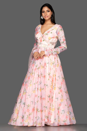 Shop elegant off-white georgette Lucknowi Anarkali online in USA with dupatta. Spread ethnic elegance on weddings and special occasions in splendid designer lehengas, Anarkali suits crafted with exquisite Indian craftsmanship from Pure Elegance Indian fashion store in USA.-side