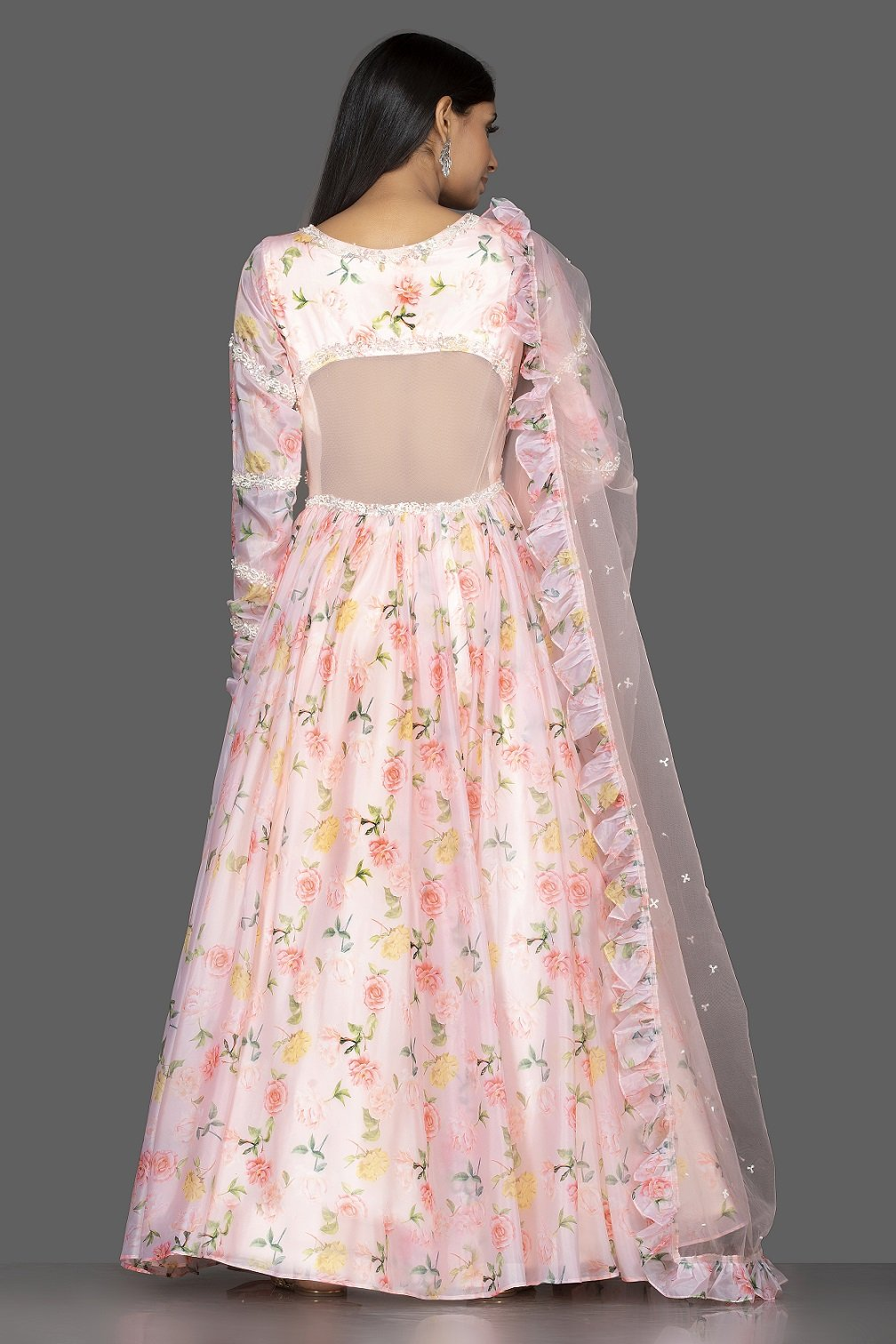 Shop elegant off-white georgette Lucknowi Anarkali online in USA with dupatta. Spread ethnic elegance on weddings and special occasions in splendid designer lehengas, Anarkali suits crafted with exquisite Indian craftsmanship from Pure Elegance Indian fashion store in USA.-back