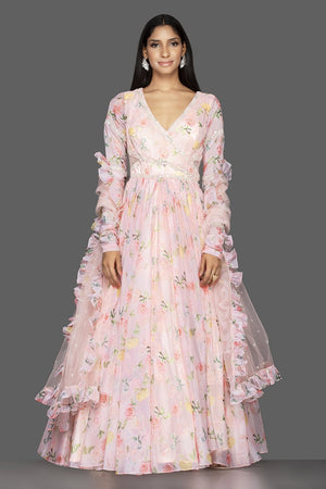 Shop elegant off-white georgette Lucknowi Anarkali online in USA with dupatta. Spread ethnic elegance on weddings and special occasions in splendid designer lehengas, Anarkali suits crafted with exquisite Indian craftsmanship from Pure Elegance Indian fashion store in USA.-front