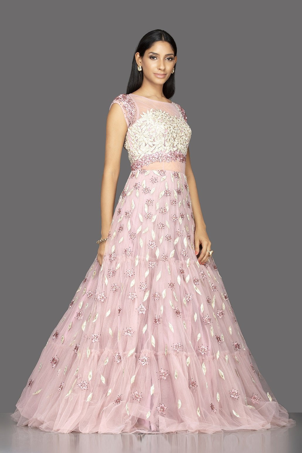 Shop baby pink pearl embroidery designer net gown online in USA. Look radiant on weddings and special occasions in splendid designer Indian dresses, wedding lehengas crafted with finest embroideries and stunning silhouettes from Pure Elegance Indian fashion boutique in USA.-side