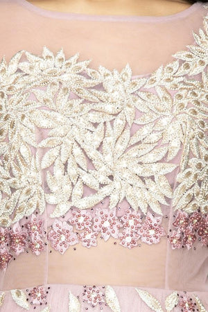 Shop baby pink pearl embroidery designer net gown online in USA. Look radiant on weddings and special occasions in splendid designer Indian dresses, wedding lehengas crafted with finest embroideries and stunning silhouettes from Pure Elegance Indian fashion boutique in USA.-embroidery