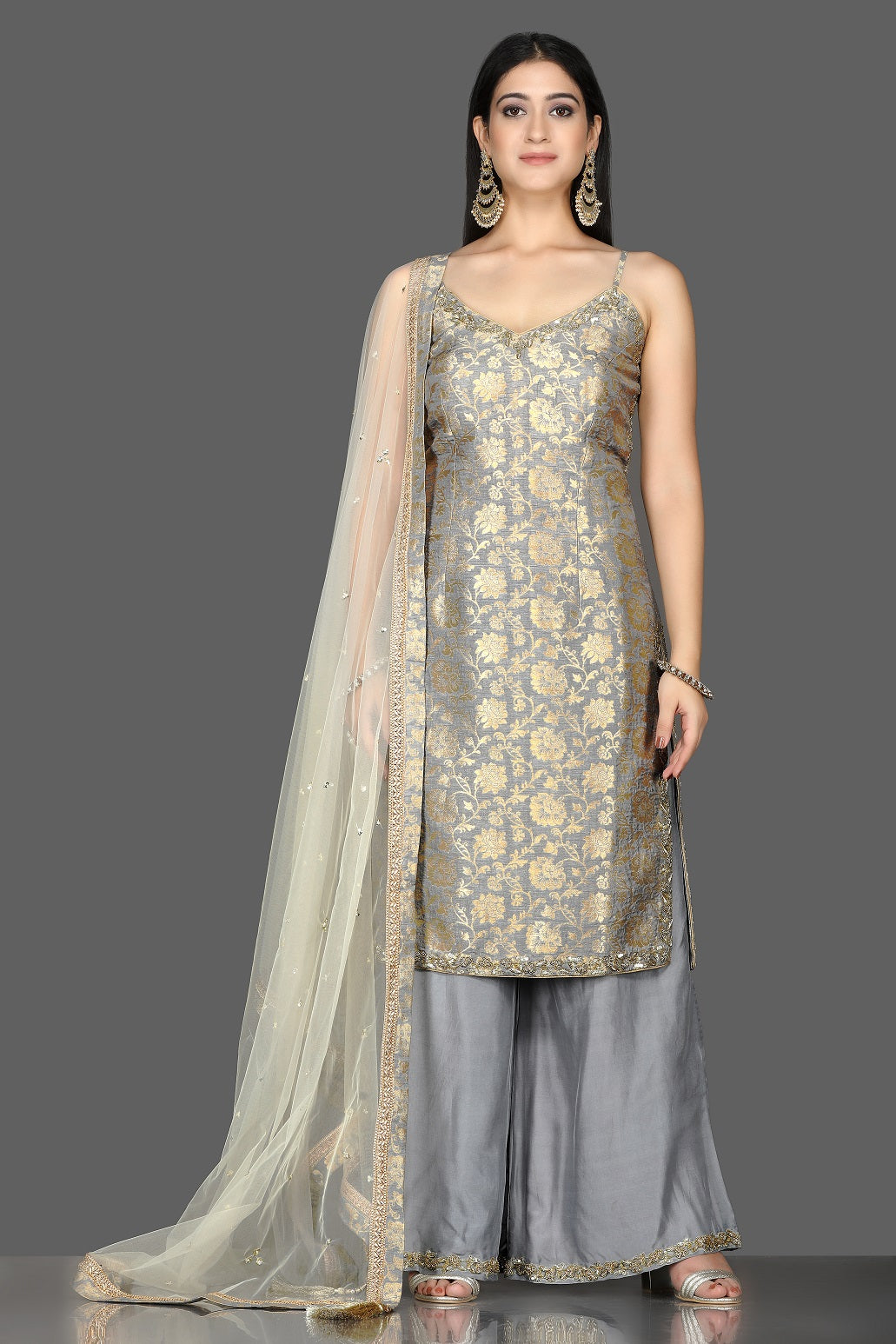 Buy lovely grey embroidered Banarasi kurta online in USA with crepe palazzo. Flaunt ethnic fashion with exquisite designer lehenga, Indian wedding dresses, Anarkali suits from Pure Elegance Indian fashion boutique in USA.-full view