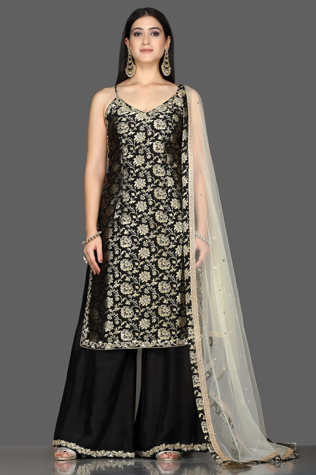 Shop stunning black embroidered Banarasi kurta online in USA with crepe palazzo. Flaunt ethnic fashion with exquisite designer lehenga, Indian wedding dresses, Anarkali suits from Pure Elegance Indian fashion boutique in USA.-full view