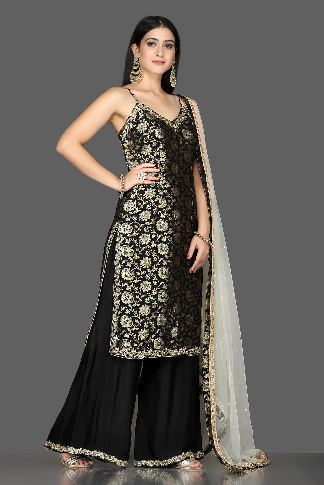 Shop stunning black embroidered Banarasi kurta online in USA with crepe palazzo. Flaunt ethnic fashion with exquisite designer lehenga, Indian wedding dresses, Anarkali suits from Pure Elegance Indian fashion boutique in USA.-side
