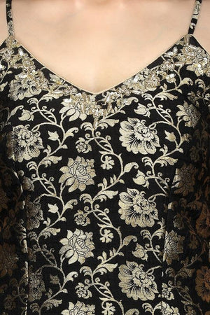 Shop stunning black embroidered Banarasi kurta online in USA with crepe palazzo. Flaunt ethnic fashion with exquisite designer lehenga, Indian wedding dresses, Anarkali suits from Pure Elegance Indian fashion boutique in USA.-top