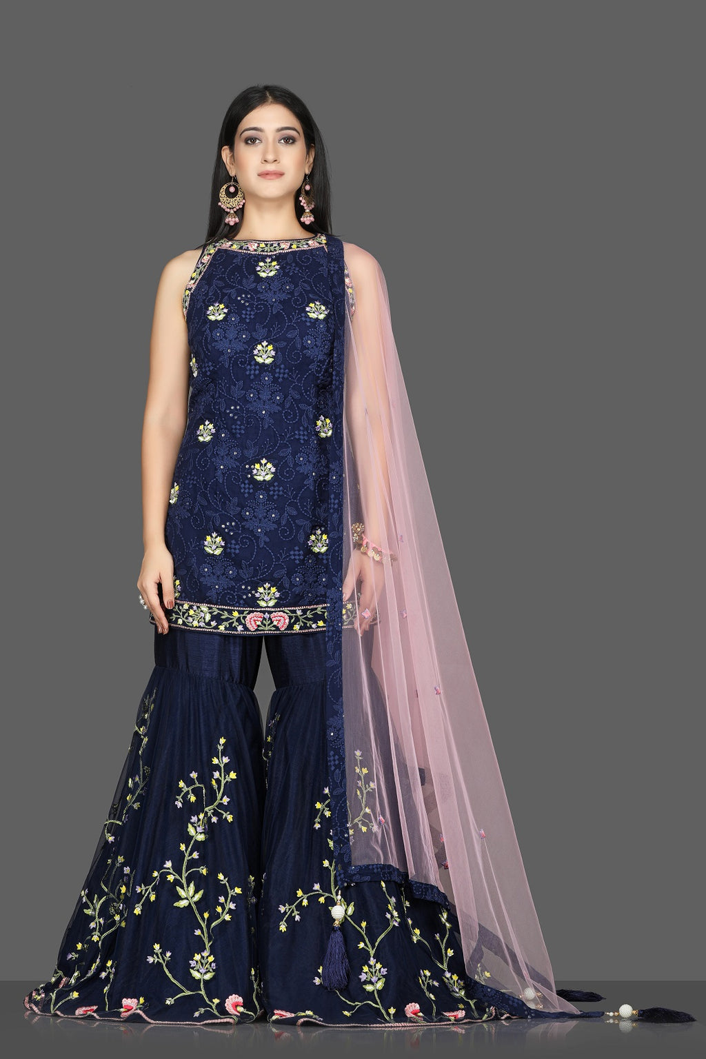 Buy beautiful navy blue embroidered georgette Lucknowi garara suit online in USA with pink dupatta. Flaunt ethnic fashion with exquisite designer lehenga, Indian wedding dresses, Anarkali suits from Pure Elegance Indian fashion boutique in USA.-full view