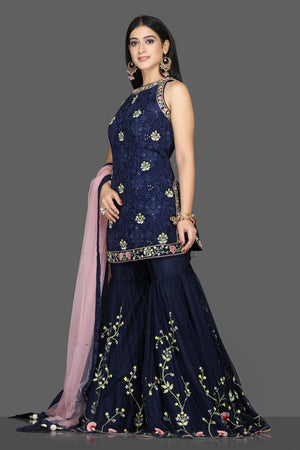 Buy beautiful navy blue embroidered georgette Lucknowi garara suit online in USA with pink dupatta. Flaunt ethnic fashion with exquisite designer lehenga, Indian wedding dresses, Anarkali suits from Pure Elegance Indian fashion boutique in USA.-side