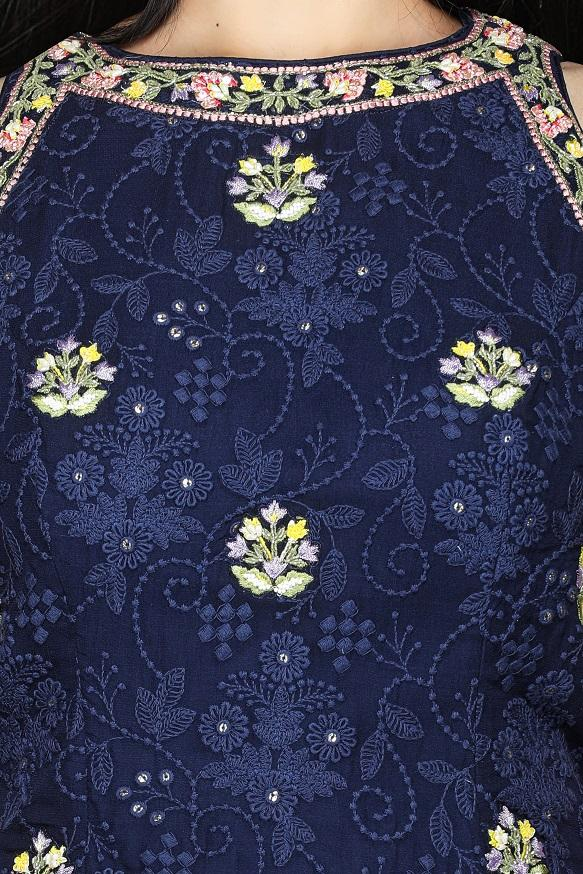 Buy beautiful navy blue embroidered georgette Lucknowi garara suit online in USA with pink dupatta. Flaunt ethnic fashion with exquisite designer lehenga, Indian wedding dresses, Anarkali suits from Pure Elegance Indian fashion boutique in USA.-top