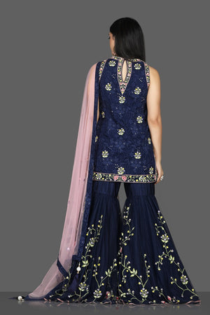 Buy beautiful navy blue embroidered georgette Lucknowi garara suit online in USA with pink dupatta. Flaunt ethnic fashion with exquisite designer lehenga, Indian wedding dresses, Anarkali suits from Pure Elegance Indian fashion boutique in USA.-back