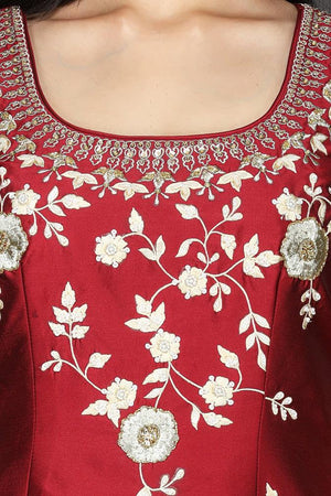 Buy red and cream embroidered raw silk net sharara suit online in USA with dupatta. Flaunt ethnic fashion with exquisite designer lehenga, Indian wedding dresses, Anarkali suits from Pure Elegance Indian fashion boutique in USA.-top