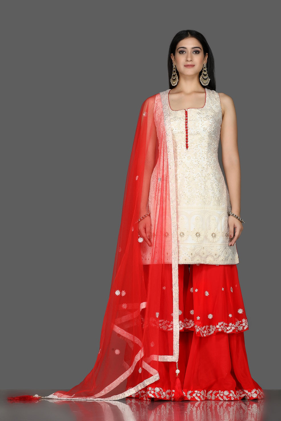 Shop beautiful white and red georgette Lucknowi sharara suit online in USA with dupatta. Flaunt ethnic fashion with exquisite designer lehenga, Indian wedding dresses, Anarkali suits from Pure Elegance Indian fashion boutique in USA.-full view