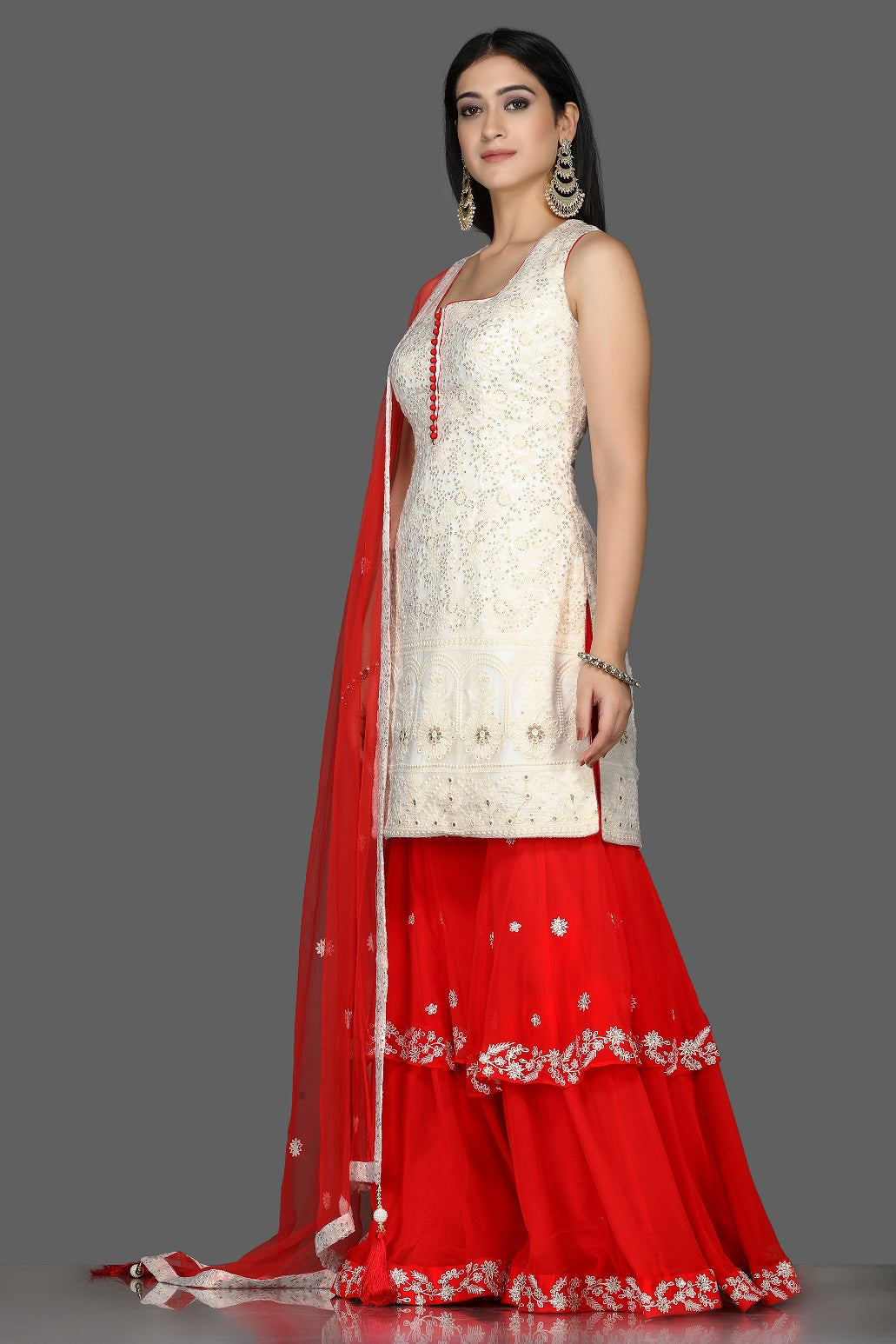 Shop beautiful white and red georgette Lucknowi sharara suit online in USA with dupatta. Flaunt ethnic fashion with exquisite designer lehenga, Indian wedding dresses, Anarkali suits from Pure Elegance Indian fashion boutique in USA.-side