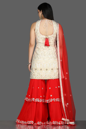 Shop beautiful white and red georgette Lucknowi sharara suit online in USA with dupatta. Flaunt ethnic fashion with exquisite designer lehenga, Indian wedding dresses, Anarkali suits from Pure Elegance Indian fashion boutique in USA.-back