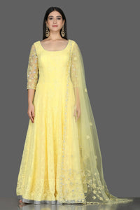 Buy stunning lemon yellow georgette Lucknowi Anarkali online in USA with dupatta. Flaunt ethnic fashion with exquisite designer lehenga, Indian wedding dresses, Anarkali suits from Pure Elegance Indian fashion boutique in USA.-full view