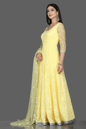 Buy stunning lemon yellow georgette Lucknowi Anarkali online in USA with dupatta. Flaunt ethnic fashion with exquisite designer lehenga, Indian wedding dresses, Anarkali suits from Pure Elegance Indian fashion boutique in USA.-side