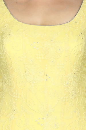 Buy stunning lemon yellow georgette Lucknowi Anarkali online in USA with dupatta. Flaunt ethnic fashion with exquisite designer lehenga, Indian wedding dresses, Anarkali suits from Pure Elegance Indian fashion boutique in USA.-top