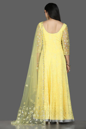 Buy stunning lemon yellow georgette Lucknowi Anarkali online in USA with dupatta. Flaunt ethnic fashion with exquisite designer lehenga, Indian wedding dresses, Anarkali suits from Pure Elegance Indian fashion boutique in USA.-back