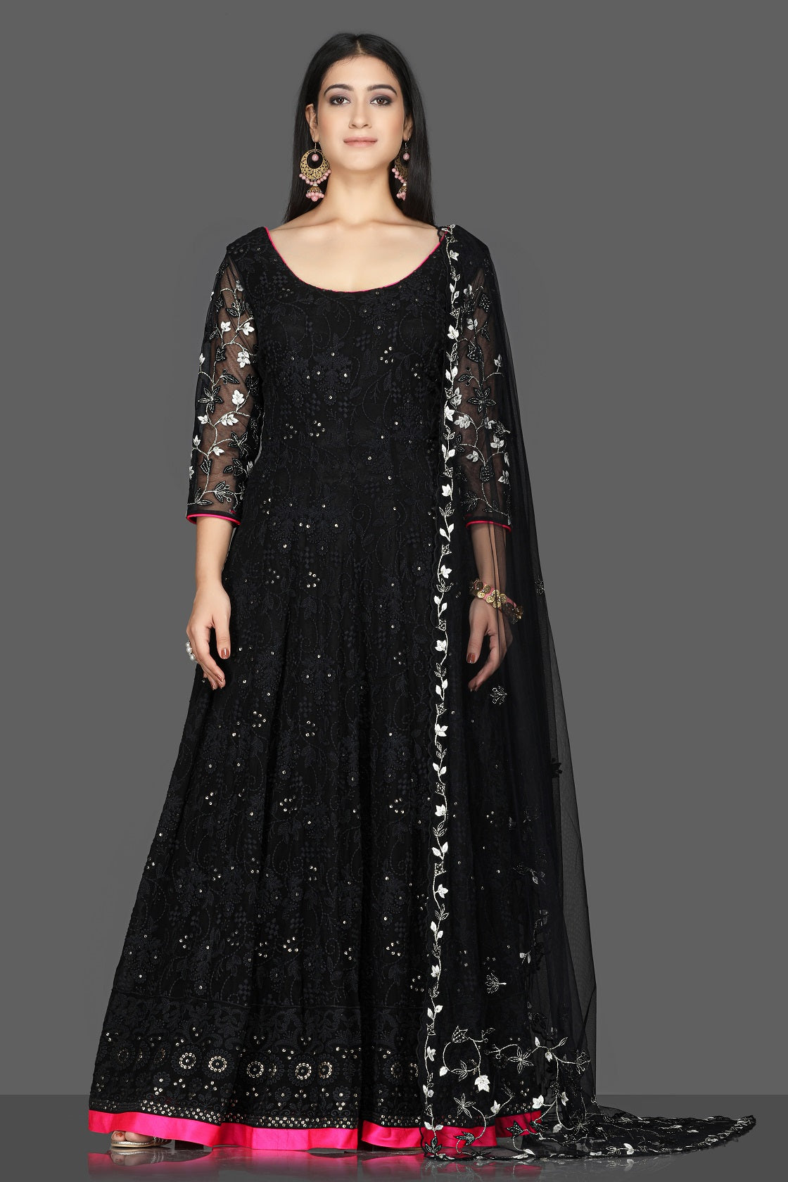 Shop exquisite black georgette Lucknowi Anarkali suit online in USA with dupatta. Flaunt ethnic fashion with exquisite designer lehenga, Indian wedding dresses, Anarkali suits from Pure Elegance Indian fashion boutique in USA.-full view