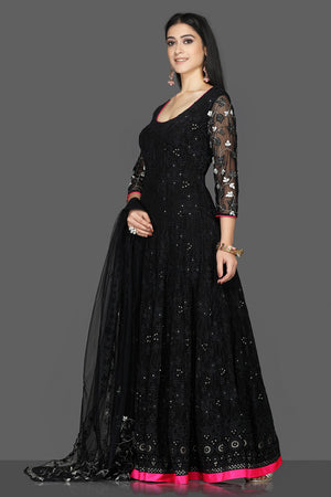 Shop exquisite black georgette Lucknowi Anarkali suit online in USA with dupatta. Flaunt ethnic fashion with exquisite designer lehenga, Indian wedding dresses, Anarkali suits from Pure Elegance Indian fashion boutique in USA.-side