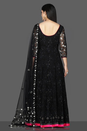 Shop exquisite black georgette Lucknowi Anarkali suit online in USA with dupatta. Flaunt ethnic fashion with exquisite designer lehenga, Indian wedding dresses, Anarkali suits from Pure Elegance Indian fashion boutique in USA.-back