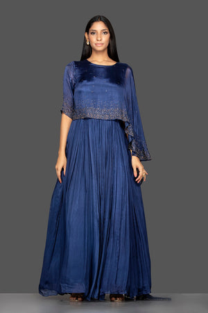 Shop navy blue embroidered satin silk cape gown online in USA. Flaunt your extraordinary fashion sense with stunning Indian dresses, designer gowns from Pure Elegance Indian fashion store in USA.-full view