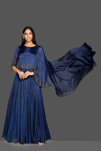 Shop navy blue embroidered satin silk cape gown online in USA. Flaunt your extraordinary fashion sense with stunning Indian dresses, designer gown from Pure Elegance Indian fashion store in USA.-front
