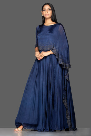 Shop navy blue embroidered satin silk cape gown online in USA. Flaunt your extraordinary fashion sense with stunning Indian dresses, designer gowns from Pure Elegance Indian fashion store in USA.-side