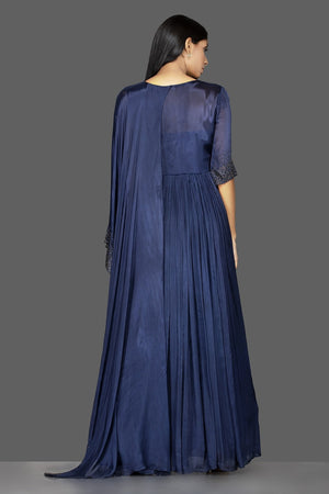 Shop navy blue embroidered satin silk cape gown online in USA. Flaunt your extraordinary fashion sense with stunning Indian dresses, designer gowns from Pure Elegance Indian fashion store in USA.-back