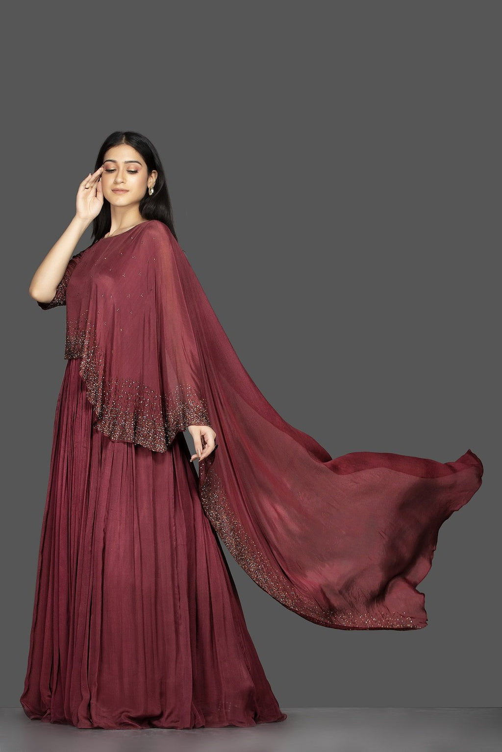 Buy stunning maroon embroidered satin silk cape gown online in USA. Flaunt your extraordinary fashion sense with stunning Indian dresses, designer gowns from Pure Elegance Indian fashion store in USA.-full view