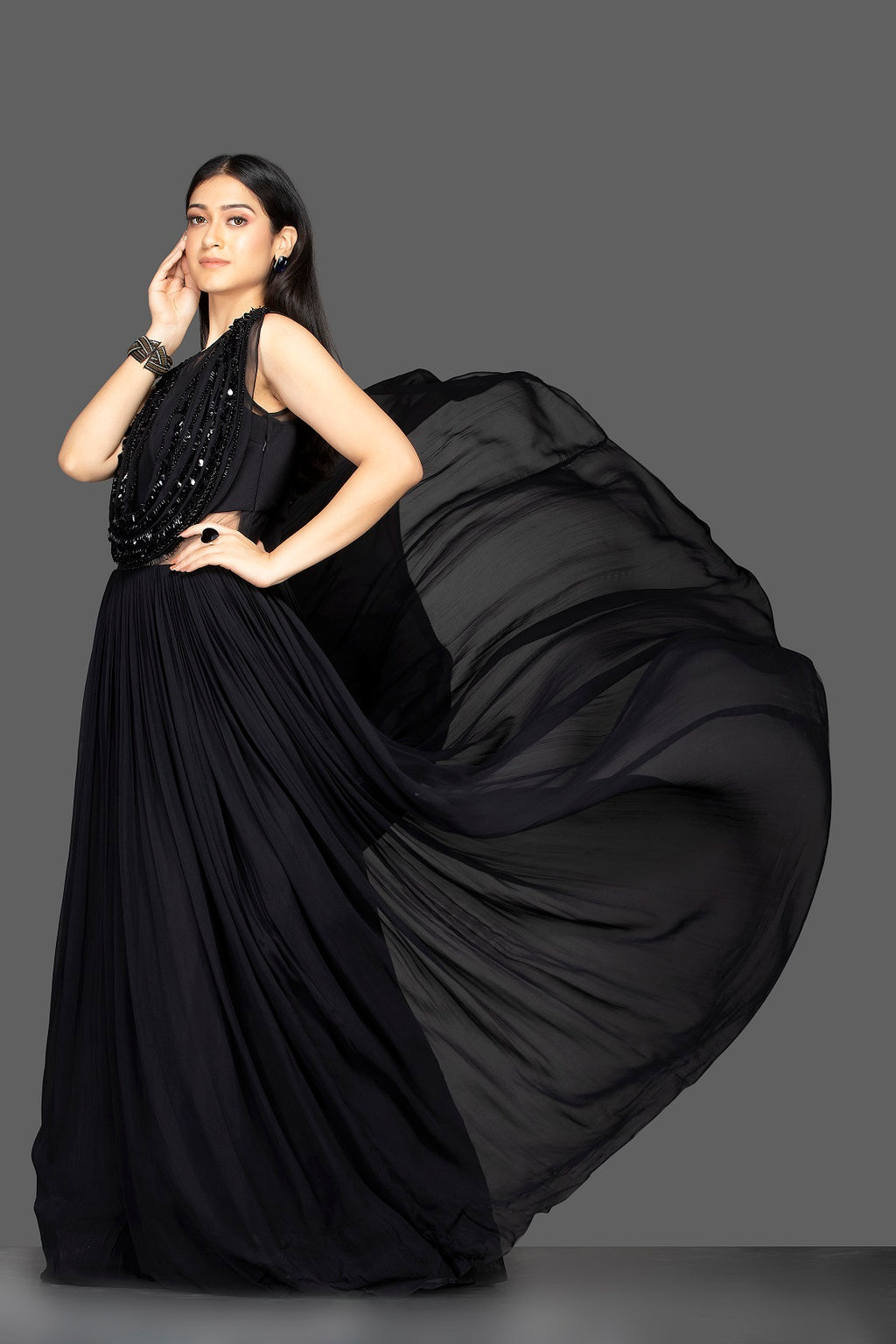 Shop black embroidered faux dupatta georgette gown online in USA. Flaunt your extraordinary fashion sense with stunning Indian dresses, designer gowns from Pure Elegance Indian fashion store in USA.-full view