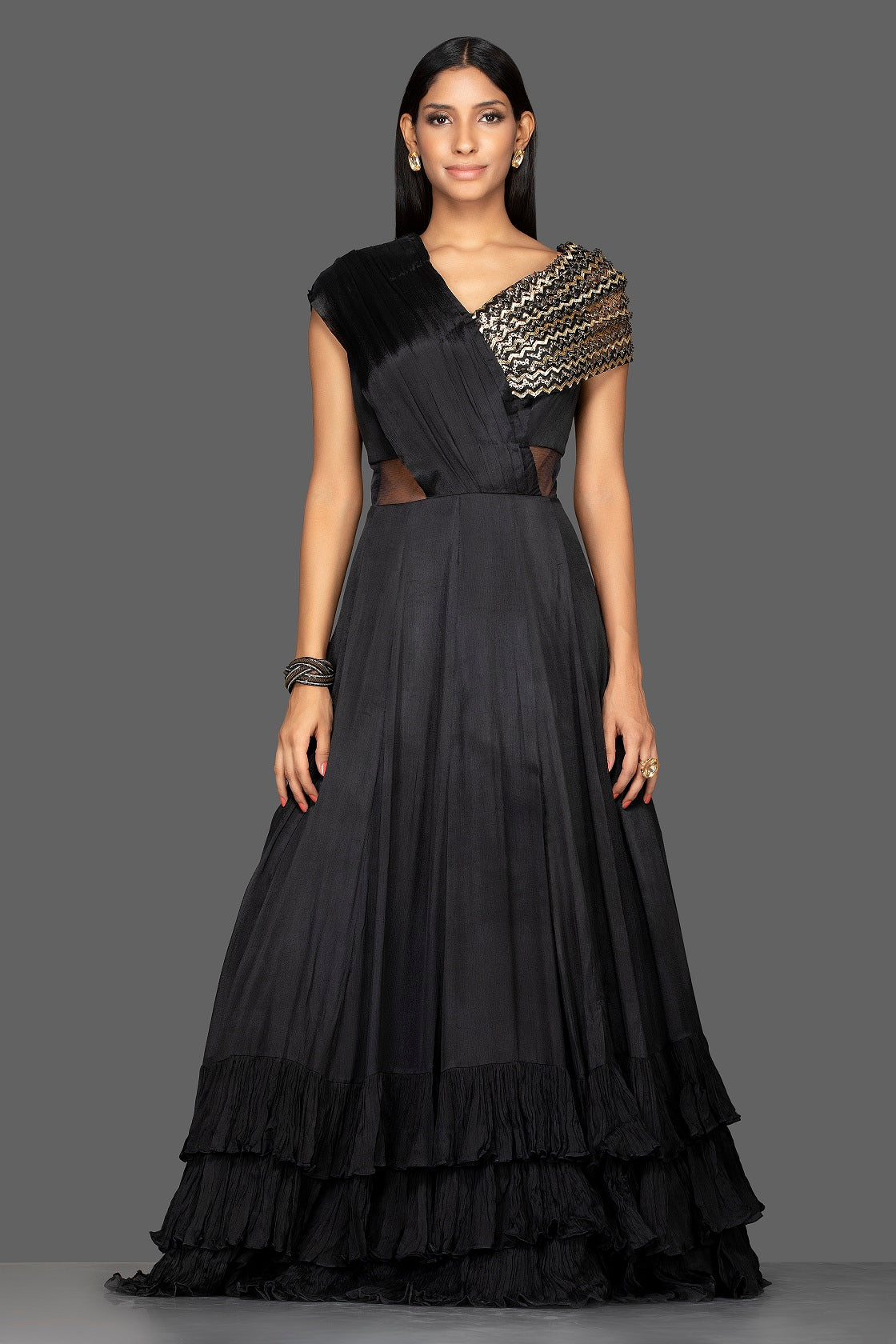 Shop stylish black embroidered georgette layered ruffle gown online in USA. Flaunt your extraordinary fashion sense with stunning Indian dresses, designer gowns from Pure Elegance Indian fashion store in USA.-full view