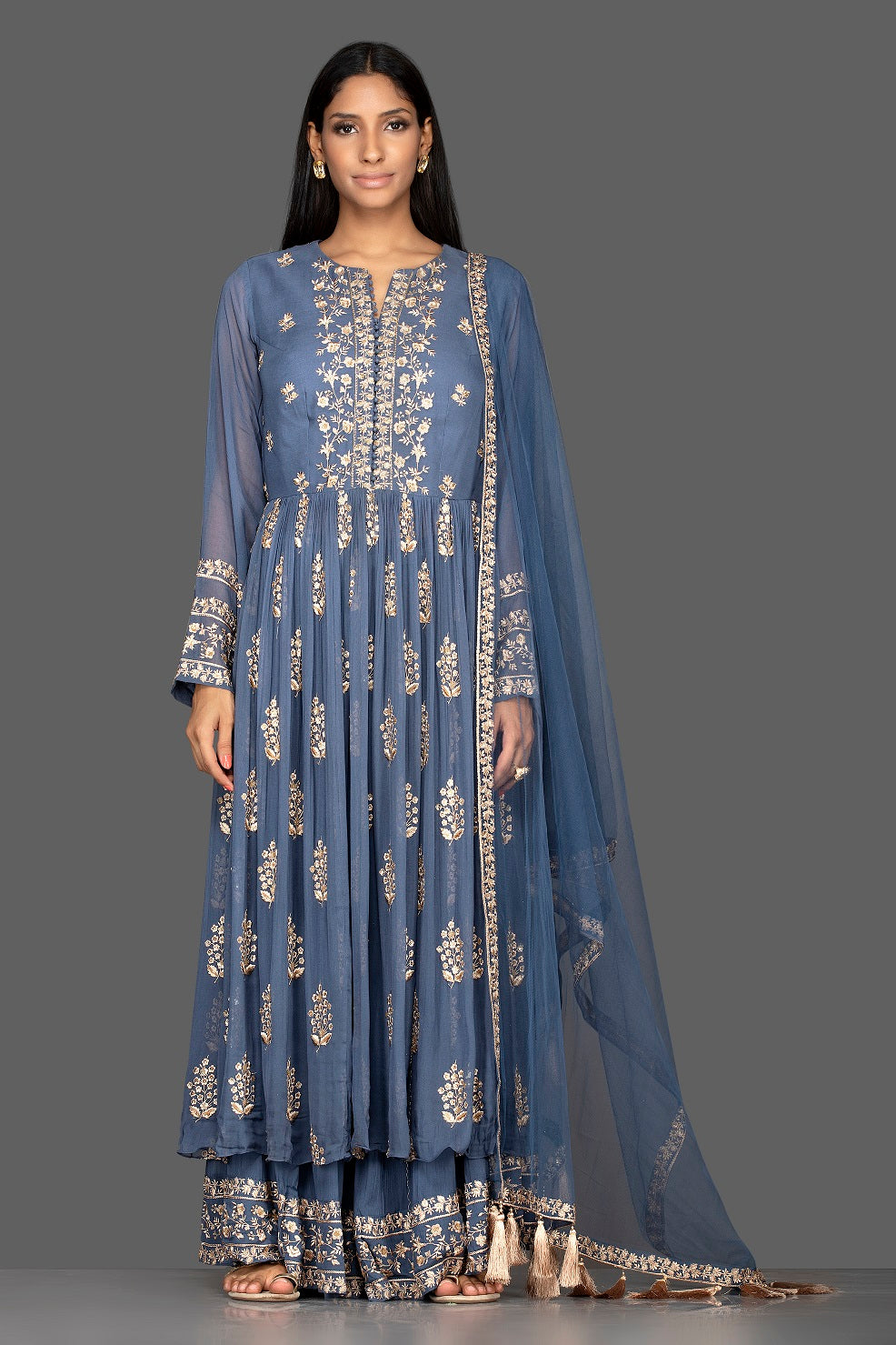 Shop blue embroidered georgette palazzo suit online in USA with dupatta. Flaunt your extraordinary fashion sense with stunning Indian dresses, designer Anarkali suits from Pure Elegance Indian fashion store in USA.-full view