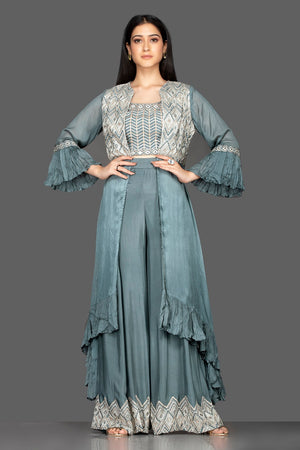 Shop sea green embroidered crop top and palazzo online in USA with long shrug. Flaunt your extraordinary fashion sense with stunning Indowestern dresses, designer Anarkali suits from Pure Elegance Indian fashion store in USA.-full view
