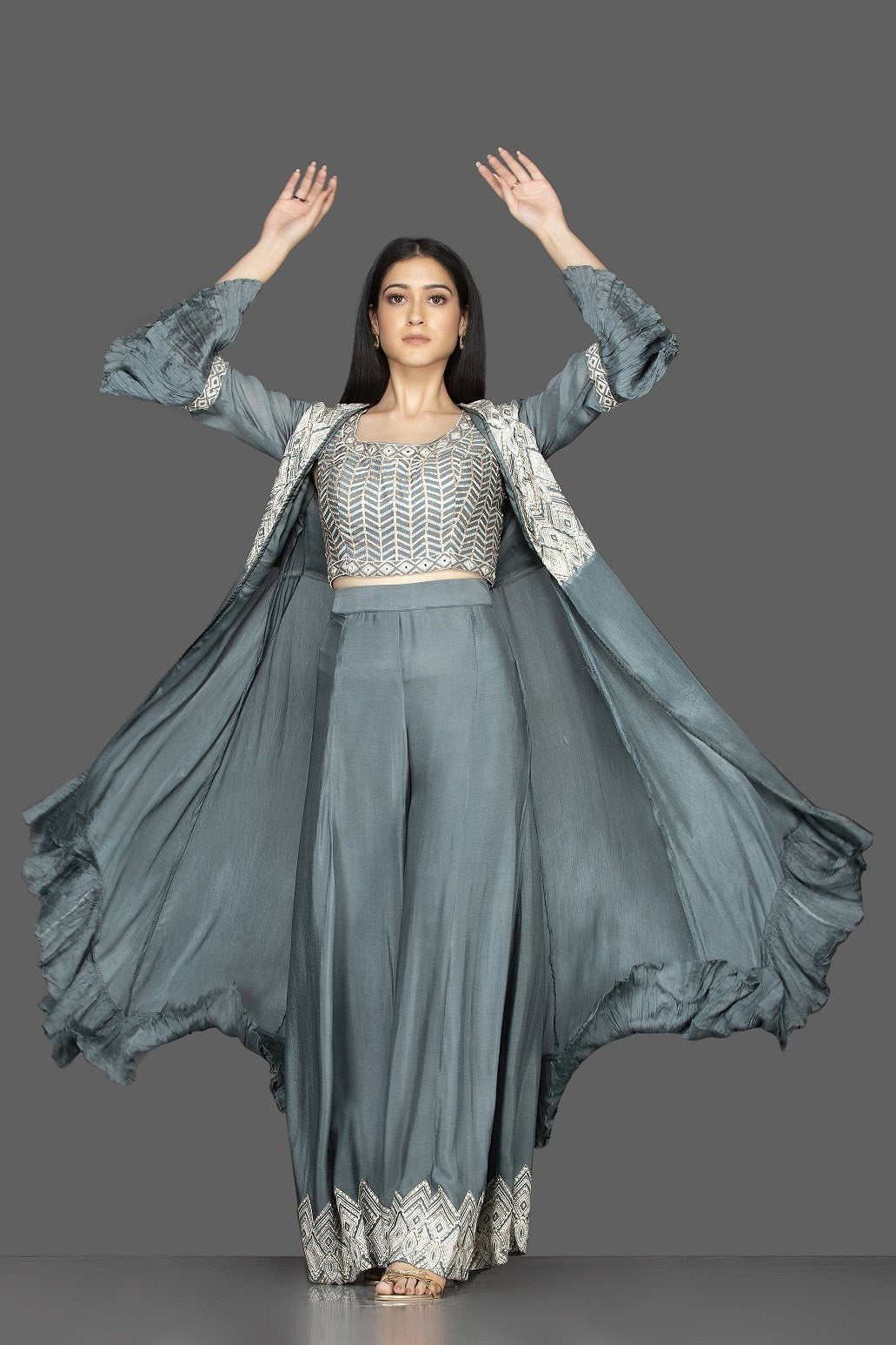 Shop sea green embroidered crop top and palazzo online in USA with long shrug. Flaunt your extraordinary fashion sense with stunning Indowestern dresses, designer Anarkali suits from Pure Elegance Indian fashion store in USA.-front